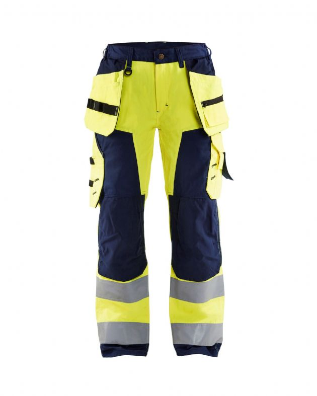 Blaklader 7156 Ladies High Vis Trousers (High Vis Yellow/Navy)